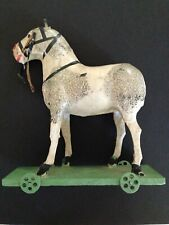 Antique German Paper Mache Toy Horse On Platform