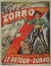 """""""LE RETOUR DE ZORRO (ZORRO RIDES AGAIN)""""Affiche originale entoilée (John CAROLL)"""