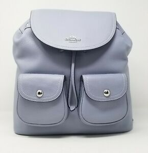Coach Pennie Pebble Leather Twilight Blue Backpack 6145