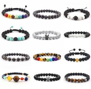 Men Women 8mmD Chakra Lava Rock Gemstone Beads Buddha Bracelet Uni-Size