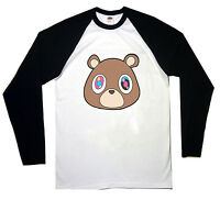 KANYE WEST BEAR BASEBALL T SHIRT LONG SLEEVE TOP RAP HIP HOP MUSIC