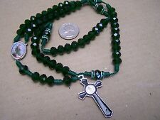 Saint Jude Rosary with Green Plastic Beads - Mexico