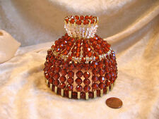 BEADED SHADE FOR WINDOW TABLE NIGHT LIGHT ELECTRIC CANDLE SHADE  AMBER TOPAZ