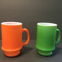 Vintage Green, Orange, Milk Glass Coffee Mugs