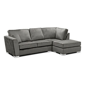 FRANCO 221cm x 158cm Grey Plush Velvet Fabric Corner Sofa CLEARANCE C238