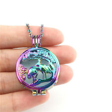 """C1000 Double Crane Swan Diffuer Charm Fit 8mm Beads Cage Locket Necklace 24"""""""