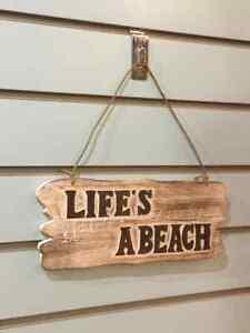 Lifes a Beach Shed Word Sign Plaque Outdoor Garden Shed Den Bar Shop 30cm x12cm