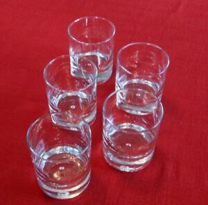 Old Fashioned lot of 5 Air Bubble in thick Base very clear 10 oz FREE SHIP!!