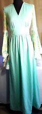 "Vintage 1960's MOD Dress Mint Green 56""L Semi Sheer Flare Sleeves w/ Lace"