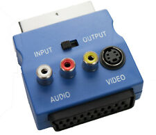 Blue SWITCHED SCART Adapter Audio & SVHS Video with IN/OUT Switch 3 PHONO SOCKET