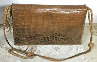 BORSA Donna in Vera Pelle di coccodrillo marrone con tracolla Italia Vintage