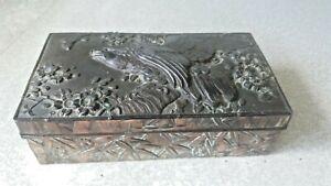 VINTAGE SILVER PLATED JAPANESE METAL CIGARETTE / JEWELLERY  BOX- EAGLE DESIGN
