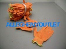 12 Pair Perfect Fit Poly Blend PVC Work Gloves PPE 7 Cut ORANGE SMALL NEW