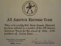 ANTIQUE 1942 LACROSSE ALL AMERICAN CERTIFICATE PRINCETON IVY LEAGUE WW2 VET NAVY