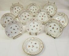Richard Klemm Dresden Set of 11 Reticulated Plates Hand Painted Flowers Gold
