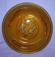 Vintage Amber Koi Fish Glass Bowl by KIG