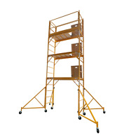 """18 Foot Scaffold Hatch Platform Tower With Safety Rail And 46"""" Outriggers"""