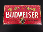 Anheuser-Busch Budweiser Beer Metal Sign Bottled At The Brewery Antique Look