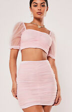 Missguided Ladies Pink Puff Sleeve Ruffle Crop Top & Matching Skirt Size 12