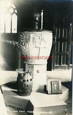 REAL PHOTOGRAPHIC POSTCARD OF THE FONT, OVERBURY CHURCH, WORCESTERSHIRE MALLETT