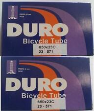 2x Duro 650c Road Bike Tube 650x23c 52mm F/v P/v Presta Valve Tubes 4730