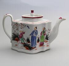 Antique English Porcelain a New Hall Boy & Butterfly 421 Lozenge Tea Pot C.1785
