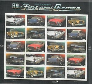 US Sc#4353-7 Sheet Of 20 Stamps 50s Fins And Chrome Cars