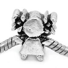 20 HOT Charm Perle Perline Ragazza Argento Antico Foro Largo Europeo 14x14mm