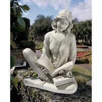 """Girl Reflection Reader Outdoor Garden Centerpiece Design Toscano 19½"""" Statue"""