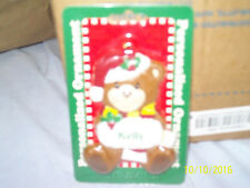 """Great Christmas Gift! Cute 1998 Stravina Plastic """"Kelly"""" Personal Bear Ornament"""