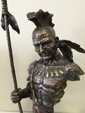 26-INCH Artistic Native American Indian Chief Bust with Spear Statue Sculpture