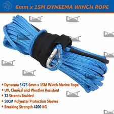 6MM x 15M Blue Dyneema SK75 Winch Rope Synthetic strap 4WD AVT Boat Recovery