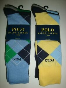 Polo Ralph Lauren Men's 6-Pair Dress Socks Argyle/Solids Yellow/Blue/Green/Navy