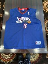 VTG Allen Iverson #3 Philadelphia 76ers Champion XL 48 Blue Jersey *See Photos**