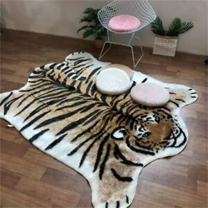 Faux Fur Animal Hide Tiger Print Rugs Cute Floor Carpet Mat Area Rug 90*110CM