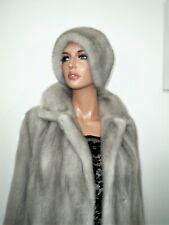 Real Mink Fur Hat for Coat Jacket Cloche Sapphire Silver Blue Vison Норка L