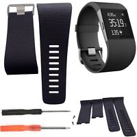 Black Replacement Watch Band Strap Tracker Wristband With Tools For Fitbit Surge