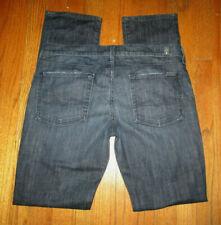 7 FOR ALL MANKIND Dark Distressed Straight Leg Jeans Women's Sz 31x33 USA
