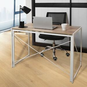 White Folding Computer Desk Wooden Foldable Study Coffee Table Laptop Office