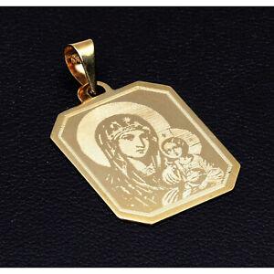 """Ikonen Anhänger Gravurplatte """"Heilige Maria mit Kind"""" 585 14K ECHT GOLD NEU"""