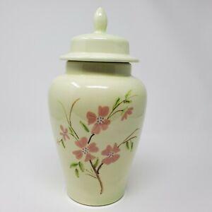 "Ginger Jar Urn Vase Lid Ceramic Handpainted Flowers Green Pink Branches 11.5"""