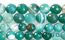 6mm & 8mm Green Stripe Striped Agate Round Faceted Semi-Precious Gemstone Beads