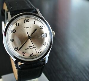 VINTAGE TIMEX 1979 DAY SPORT MECHANICAL WIND UP MEN'S SILVER BLACK LEATHER WATCH