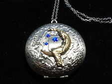 ANTIQUE SILVER MOON GODDESS LOCKET  LARGE ROUND