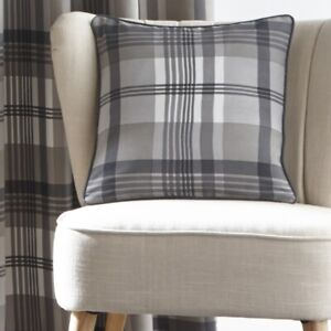 """Tartan Check Cushion Cover Double Sided Seat Pad Cover 17x17"""" 43cm Charcoal Grey"""