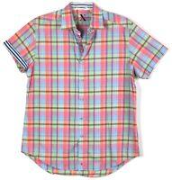 Robert Graham X Tailored Fit Plaid Button Up Shirt Short Sleeve Pink Mens L
