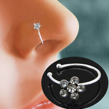 Small Thin Flower Clear Crystal Nose Ring Stud Hoop-Sparkly Pin Ring Piercing