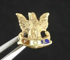 VINTAGE SOLID 10K GOLD FOE FRATERNAL ORDER of EAGLE ENAMEL LAPEL PIN TIE TACK