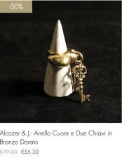 Alcozer & J.-Anello Cuore e Due Chiavi in Bronzo Dorato(-30% sconto fine serie!)