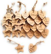 Personalised Small Wood Heart/Star Gift Name Tag Mothers day Birthday Handmade
